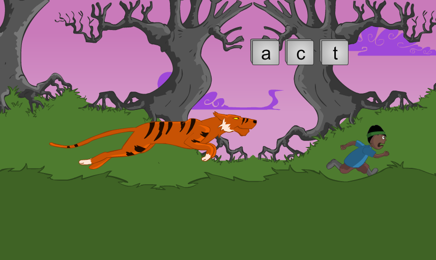 An example of a game to learn letters and typing.